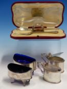 A PAIR OF 19th C. OVAL TABLE SALTS WITH BLUE GLASS LINERS, A PAIR OF CLEAR GLASS LINED MUSTARDS