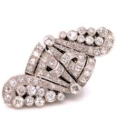 A 20th C. DIAMOND DOUBLE CONVERTER BROOCH CLIP. SET WITH MIXED CUT DIAMONDS, PAVE, CHANNEL AND RUB