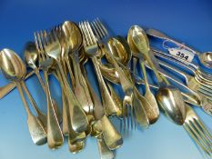 A COLLECTION OF 19th C. HALLMARKED SILVER CUTLERY,TO INCLUDE A SET OF TWELVE DESSERT SPOONS,