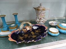 A LIMOGES DRESSING TABLE SET AND OTHER CHINAWARES.