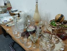 A LARGE QTY OF CUT GLASS, DINNER WARES, ETC.