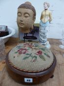 A VICTORIAN FOOTSTOOL, AN EASTERN BUST, A FIGURINE, ETC.