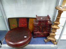 AN ORIENTAL LACQUERED SMALL CABINET, A LIDDED BOX, GILT TABLE LAMP,ETC.