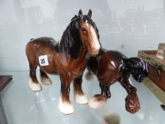 TWO BESWICK HORSES.