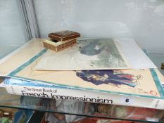 A GROUP OF ORIENTAL PRINTS AND A BOOK ON FRENCH IMPRESSIONISM.