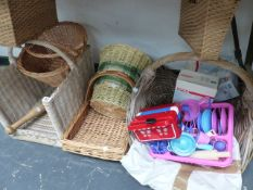 VARIOUS WICKER BASKETS.