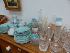 A POOLE TEA SERVICE AND VARIOUS CUT GLASSWARE.