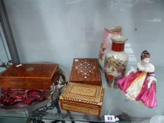 A DOULTON FIGURINE, INLAID BOXES, ETC.