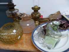 TWO OIL LAMPS, BRASS FIRESIDE SETS, CHINAWARES, ETC.