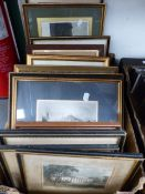A QTY OF ANTIQUE STEEL ENGRAVINGS AND OTHER PRINTS.