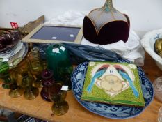 A LARGE VICTORIAN TILE, TABLE LINENS, CHRISTENING GOWN, ANTIQUE LINEN SHIRTS, ETC. *LINENS WITHDRAWN