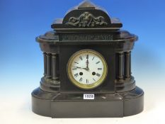A BLACK SLATE CLOCK, THE DIAL FLANKED BY SIX BRONZE COLUMNS AND BELOW A CLASSICAL FRIEZE, THE FRENCH