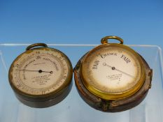 TWO POCKET BAROMETERS BY J H STEWARD AND BY C W DIXEY AND SON