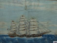 19th/20th.C.ENGLISH NAIVE SCHOOL. A CLIPPER SHIP UNDER FULL SAIL. OIL ON CANVAS LAID DOWN. 31.5 x