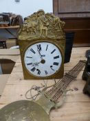 A FRENCH ENAMEL DIAL CLOCK WALL CLOCK WITH BRASS PENDULUM.