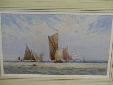 W. W. MAY (1831-1896). TWO MARINE VIEWS, SIGNED WATERCOLOURS. 17 x 26cms (2).