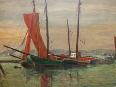 EARLY 20th.C.CONTINENTAL SCHOOL. FISHING BOATS, SIGNED INDISTINCTLY, OIL ON CANVAS. 80 x 122cms.