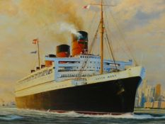 AFTER ROBERT TAYLOR. FAREWELL AMERICA, QUEEN MARY LEAVING NEW YORK, A LIMITED EDITION COLOUR