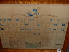 AN INTERESTING 19th.C.DIAGRAM OR CHART OF VARIOUS SIGNAL FLAGS AND THEIR MEANINGS, INSCRIBED ST.