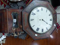 A PORTSEA BRASS INLAID ROSEWOOD DROP DIAL FUSEE TIMEPIECE, THE ROUND WHITE FACE WITHIN OCTAGONAL