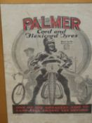 A BLACK AND RED PRINTED ADVERT FOR PALMER TYRES DESIGNED BY D PARR, WITHIN GILT SLIP AND OAK