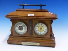 A 1901 PRESENTATION WALNUT CASED ANEROID BAROMETER, MERCURY THERMOMETER AND CLOCK. W 30.5 x 25.
