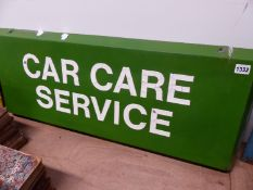 "A VINTAGE ALLOY SIGN ""CAR CARE SERVICE"". 92 x 36cms."