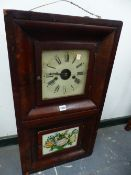 A LATE 19th.C.AMERICAN WALL CLOCK AND TWO SIMILAR MANTLE CLOCKS.