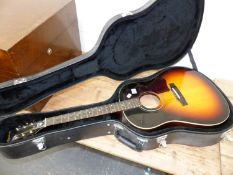 A EPIPHONE ACCOUSTIC GUITAR IN CARRYING CASE.