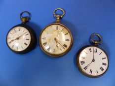 TWO GEORGIAN SILVER PAIR CASED POCKET WATCHES BY CHATER AND BY TURNER TOGETHER WITH A LATER SILVER