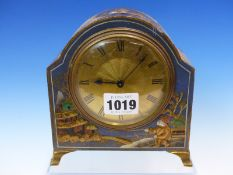 A BLUE GROUND CHINOISERIE MANTLE CLOCK, THE PLATFORM ESCAPEMENT MOVEMENT FRENCH, THE CASE. H 15cms.