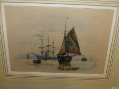 R. MALCOLM LLOYD (1855-1945). IN THE CHANNEL, SIGNED AND DATED 1883, WATERCOLOUR. 16.5 x 24cms.