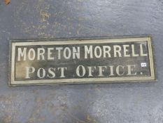 "A VINTAGE HAND PAINTED SIGN ""MORETON MORRELL POST OFFICE""."