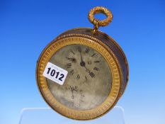 A FRENCH BRONZE AND DORE CASED CLOCK WITH WATCH MOVEMENT STRIKING ON A BELL, THE CASE. Dia. 12.