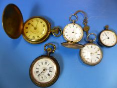 THREE ANTIQUE HUNTING CASED POCKET WATCHES AND TWO OPEN FACED, THE TWO KEY WINDING WATCHES IN