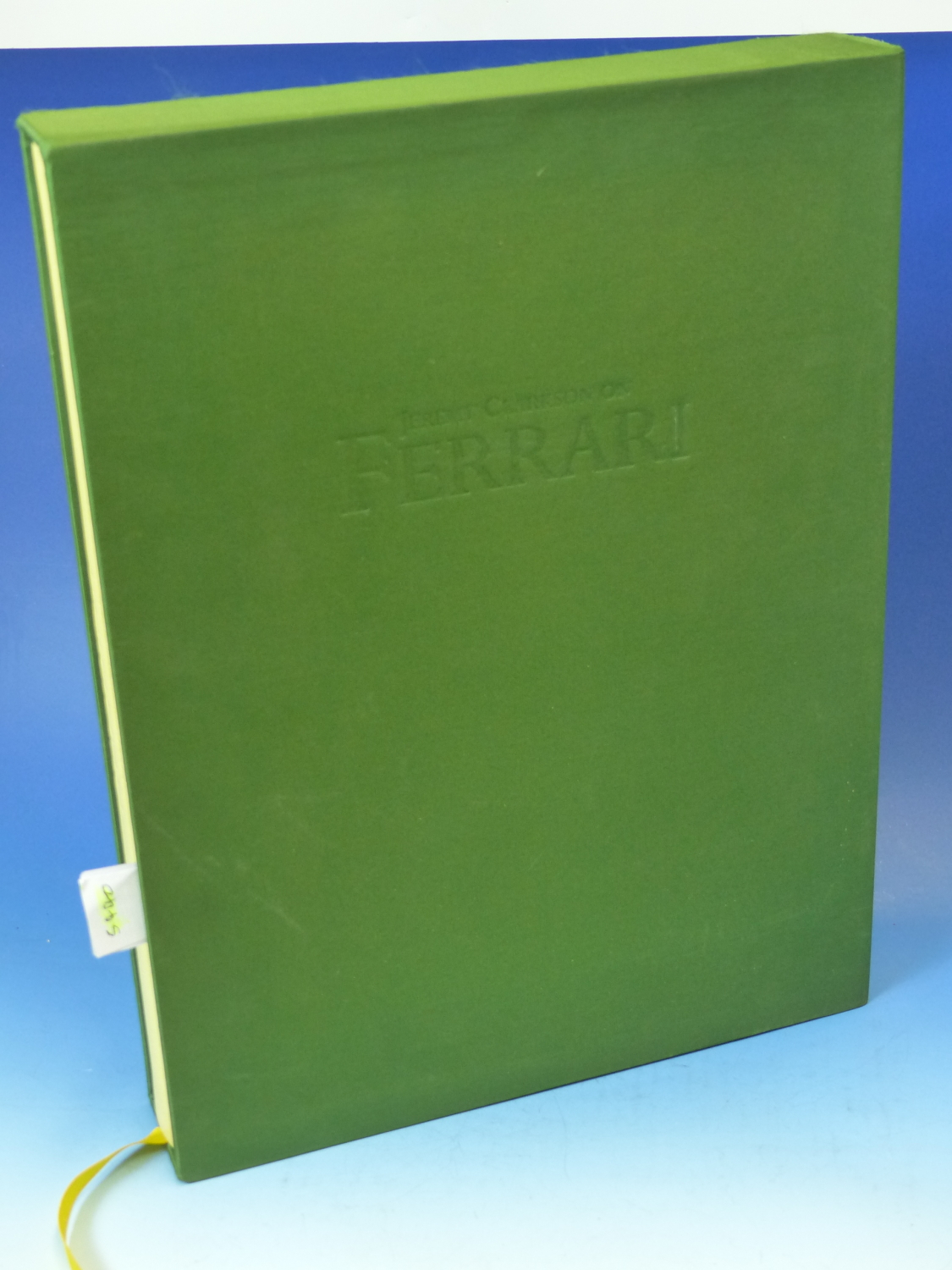 Lot 1319 - JEREMY CLARKSON, ON FERRARI, 2000, FOLIO WITH GREEN SILK COVERED SLEEVE.