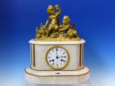 A 19th.C.ORMOLU AND WHITE MARBLE CLOCK SURMOUNTED BY TWO CHILDREN, THE PENDULUM MOVEMENT STRIKING ON