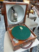 A DECCA WIND UP GRAMOPHONE RETAILED BY ALFRED HAYS, THE PLAYING ARM FITTING INTO THE ALUMINIUM SOUND