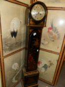 A CHINOISERIE PAINTED BLACK LACQUER GRANDMOTHER CLOCK WITH THE EMBEE MOVEMENT STRIKING ON A COILED