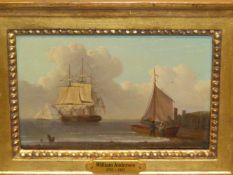 ATTRIBUTED TO WILLIAM ANDERSON (1757-1837). A COASTAL VIEW WITH VARIOUS VESSELS, OIL ON PANEL,