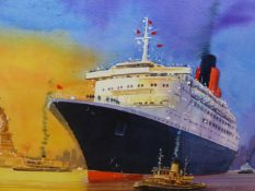 PETER J. RODGERS (CONTEMPORARY) ARR. THE QUEEN ELIZABETH II LEAVING NEW YORK, SIGNED WATERCOLOUR. 50