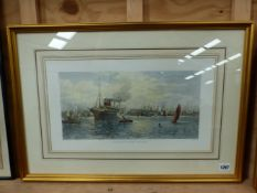 AFTER JAMES TOWNSEND. A HAND COLOURED PRINT ENTITLED SOUTHAMPTON DOCKS. 27 x 48cms.