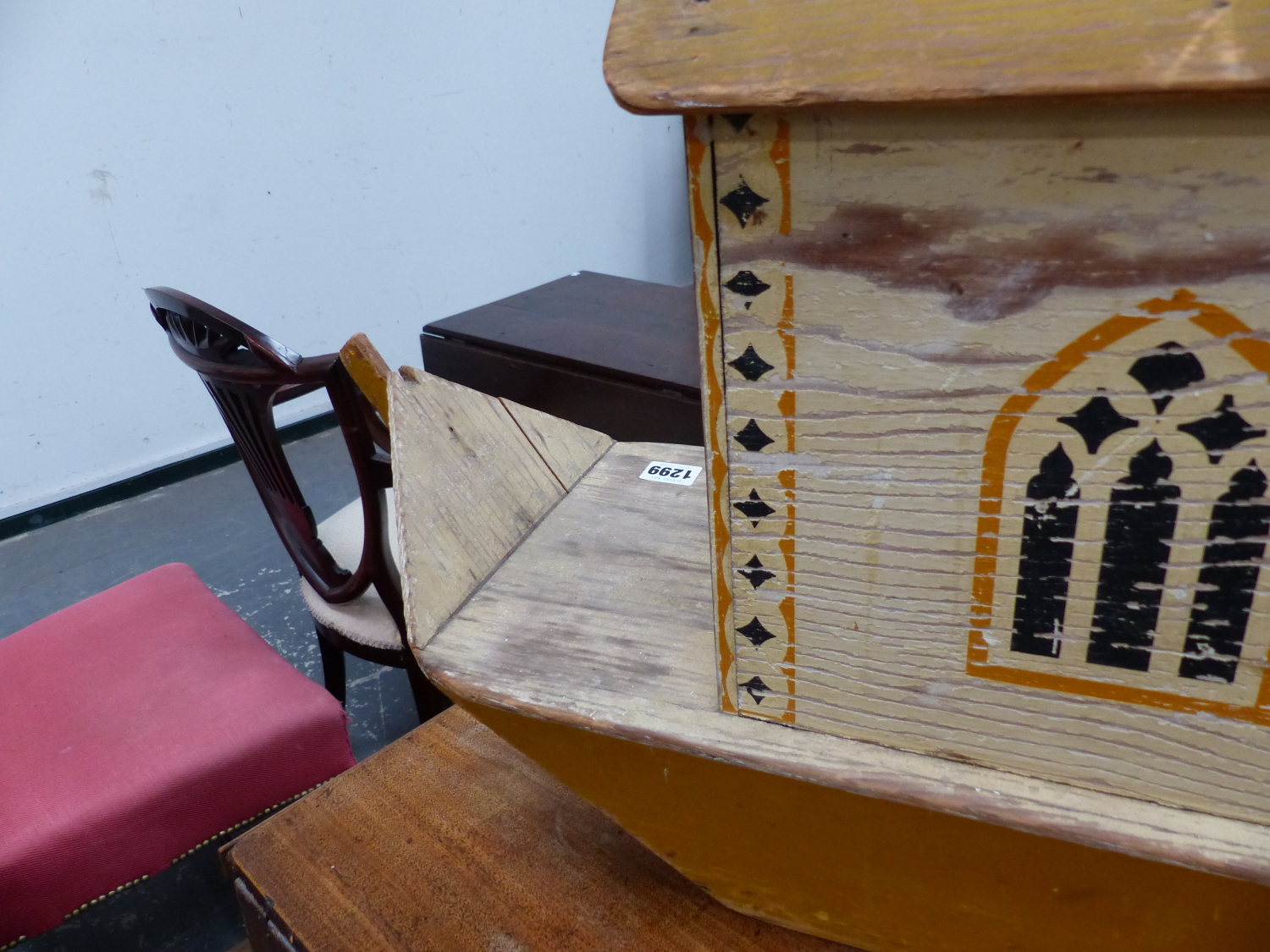Lot 1299 - A WAR RELIEF TOY WORK NOAH'S ARK, THE YELLOW HOUSE BOAT WITH THREE GOTHIC ARCHED WINDOWS EACH SIDE