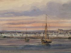 ATTRIBUTED TO COPLEY FIELDING (1787-1855) A HARBOUR VIEW, SIGNED WATERCOLOUR, MOUNTED BUT