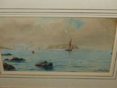 PETER TOMS (20th.C.SCHOOL) ARR. TRAWLERS OFF PORTLAND BILL. SIGNED WATERCOLOUR. 23.5 x 34cms.