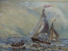 ATTRIBUTED TO CLAUDE BENDALL. (1891-1970) ARR. COMING ABOARD, WATERCOLOUR. 27 x 40cms.