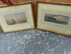 19th.C.ENGLISH SCHOOL. FISHING BOATS ON THE BEACH, WATERCOLOUR. 13.5 x 24cms. TOGETHER WITH