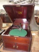 A MAHOGANY CASED HIS MASTERS VOICE WIND UP GRAMOPHONE WITH GREEN BAIZE TOPPED TURNTABLE, LINE INLAID