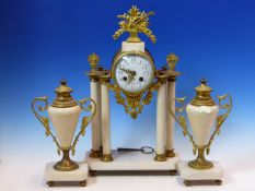 A GILT METAL AND WHITE MARBLE CLOCK GARNITURE, THE BONNET AND POTTIER MOVEMENT COUNTWHEEL STRIKING