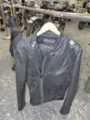 A BELSTAFF LEATHER MOTORCYCLE JACKET AND TROUSERS.